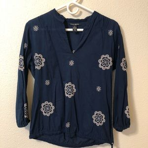 Lucky Brand Blue White Print Floral Peasant Top